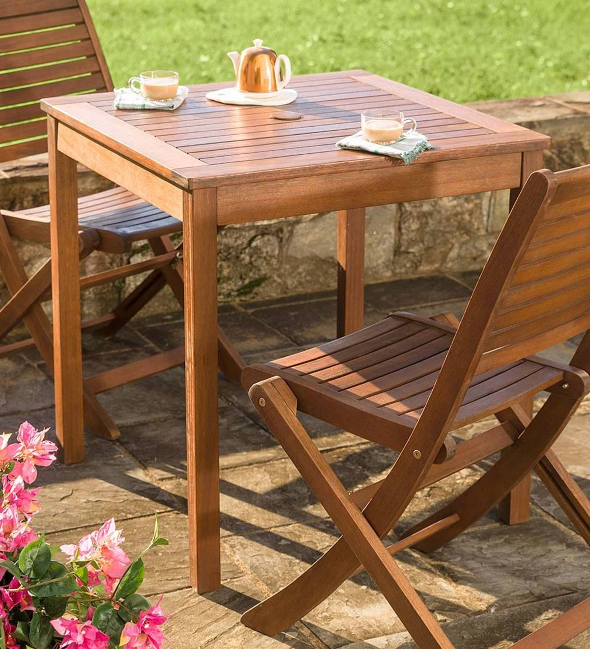 Eucalyptus Wood Outdoor Square Bistro Table Outdoor Furniture Sets Outdoor Wood Furniture Wood Patio Furniture