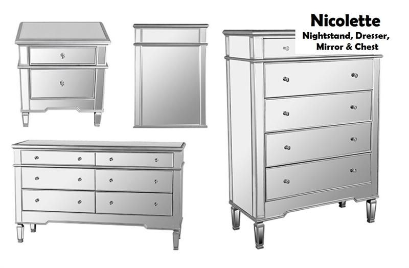 Mirrored Dresser And Nightstand Set Lanzhome Com In 2020 Dresser With Mirror Mirrored Bedroom Furniture Mirrored Furniture