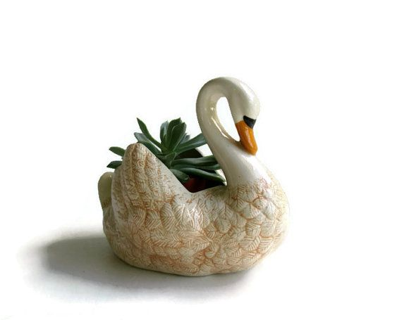 Swan Planter Succulent Container Urban Garden by WeeLambieVintage