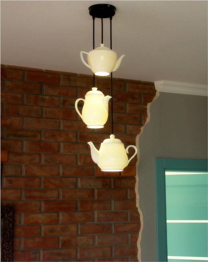 Teapot Lamp Triple Teapot Pendant Lighting Cafe Interior Etsy In 2020 Teapot Lamp Tea Pots Teapot Decorations