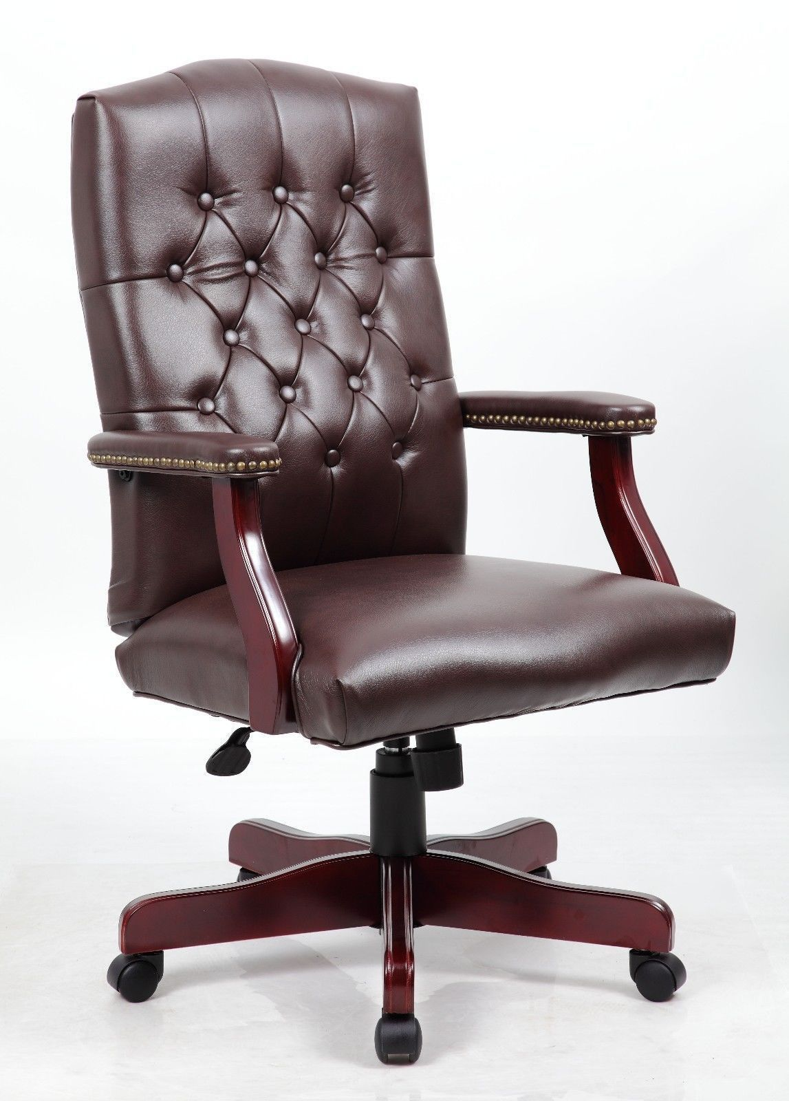 Mid Back Traditional Tufted Leather Executive Office Chair Brown