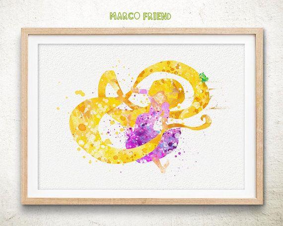 Disney Tangled Rapunzel Watercolor Art Poster Print - Home Decor ...