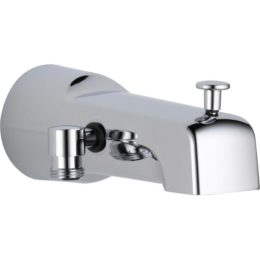 Delta 6 5 In Long Pull Up Diverter Tub Spout In Chrome U1010 Pk Tub Spout Bathtub Spouts Delta Faucets