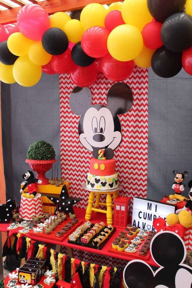 Mickey Mouse Birthday Party Ideas Photo 3 Of 11 Mickey Mouse Birthday Decorations Mickey Mouse First Birthday Mickey Mouse Themed Birthday Party