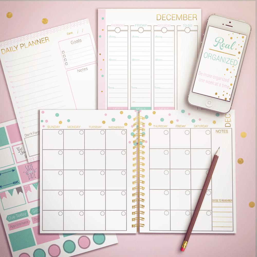 Real Organized Undated Printable Calendar - Pink