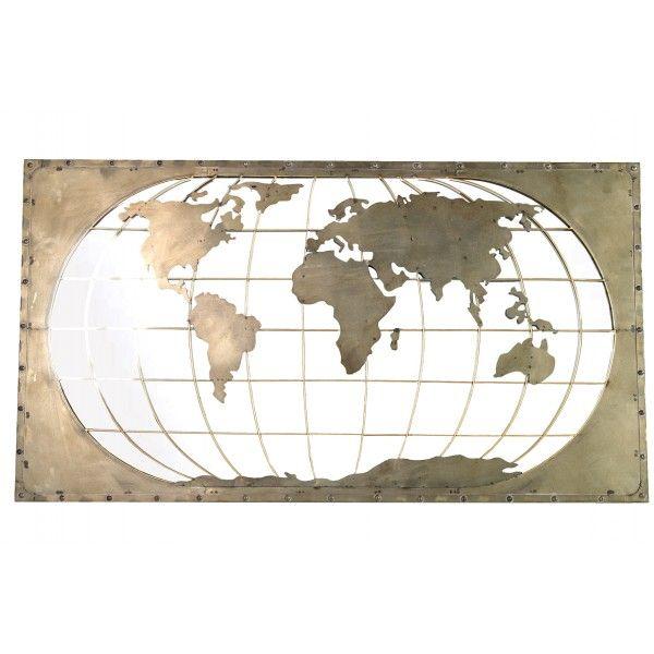 Wanddecoratie Wereldkaart Metaal.World Wanddecoratie Spiegel Uitgesneden Wereldkaart Metaal 120 X 66