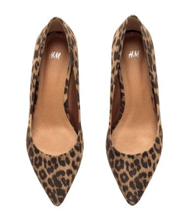 9730f73c Leopard-print kitten heel pumps with pointed toes, and rubber soles. Heel  height 2 in. | H&M Shoes