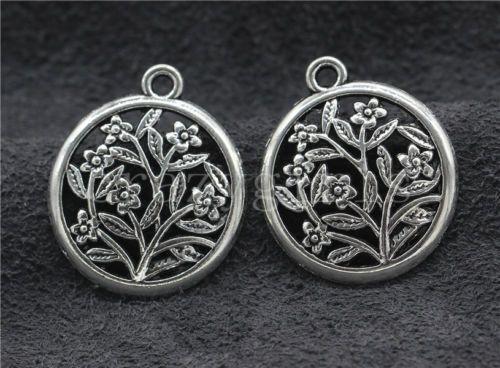 8-30-150pcs-Antique-Silver-Beautiful-Plum-flower-Jewelry-Charms-Pendant-27x23mm