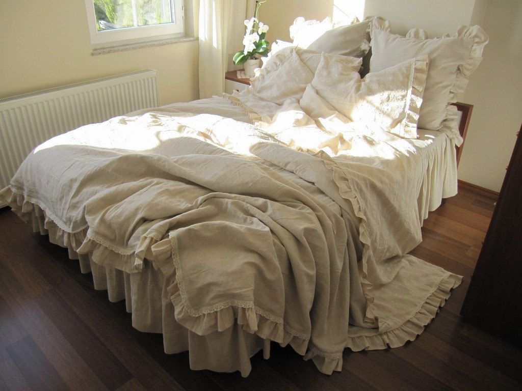 Queen Duvet Cover Beige Ecru Neutral Woven Cotton Linen Blend Buldan Fabric French Country Home Bedding 6 Pcs Skirted Coverlet Nurdanceyiz