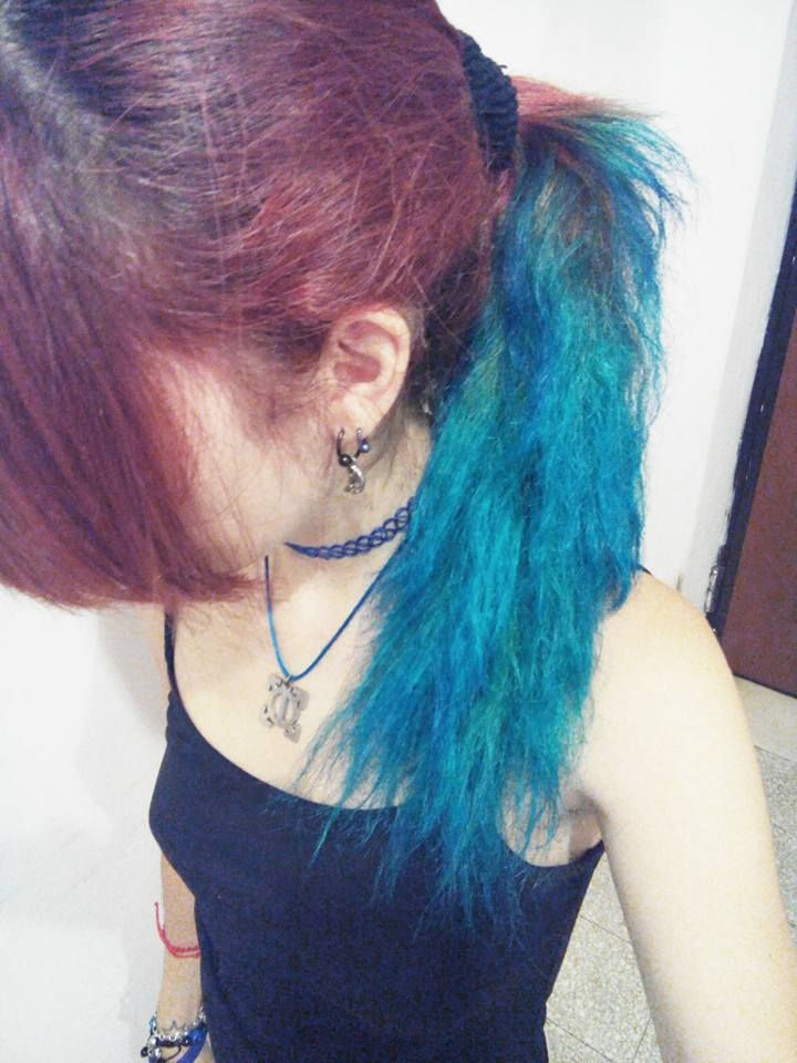 #hair #red #blue