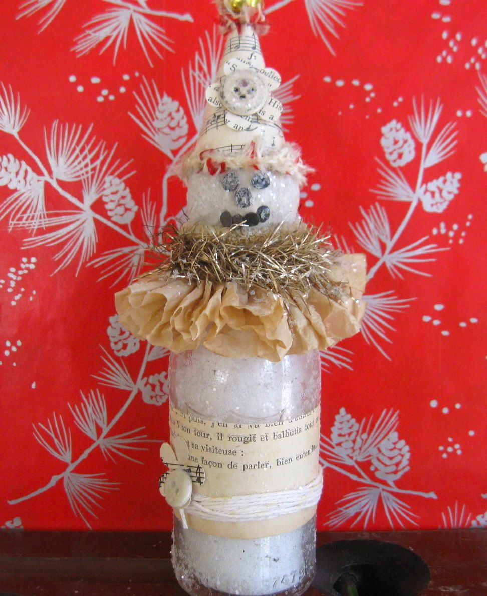 Handmade snowman bottle snowmen holiday decorating christmas