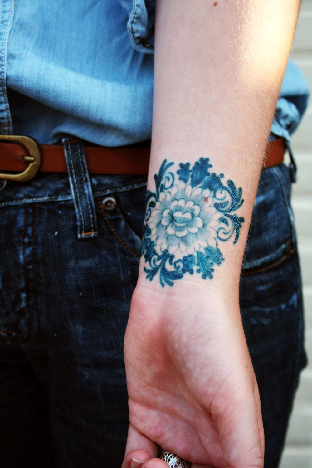Flower Design On The Wrist Henna Tattoo: Delft Blue Temporary Tattoo / Floral Temporary Tattoo