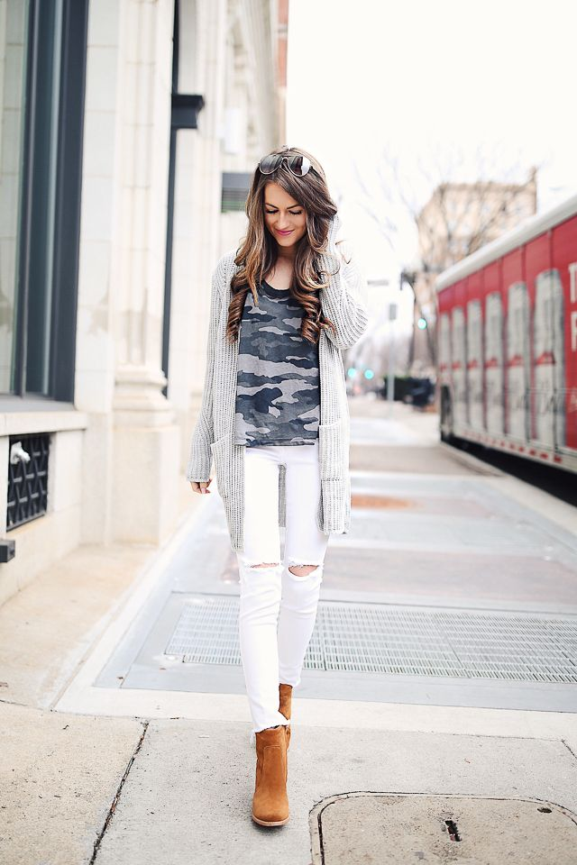 25a3be96500 Current Elliott camo tee    white pants    similar grey cardigan Joie  booties    Celine sunglasses