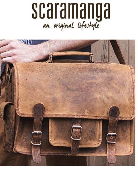 Scaramanga Mens Vintage Leather Overlander Medium Satchel Style 12042 4b1a80d02c850