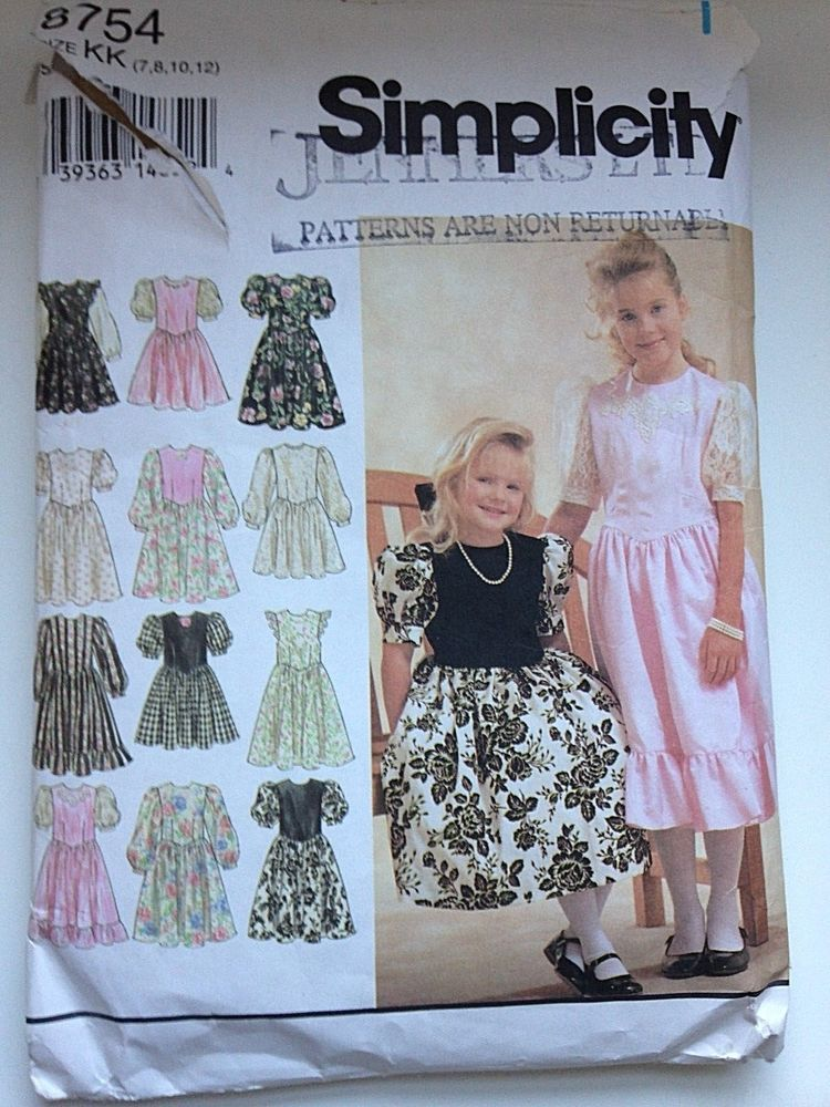 Vintage Girls Sewing Patterns Dress for princess in two