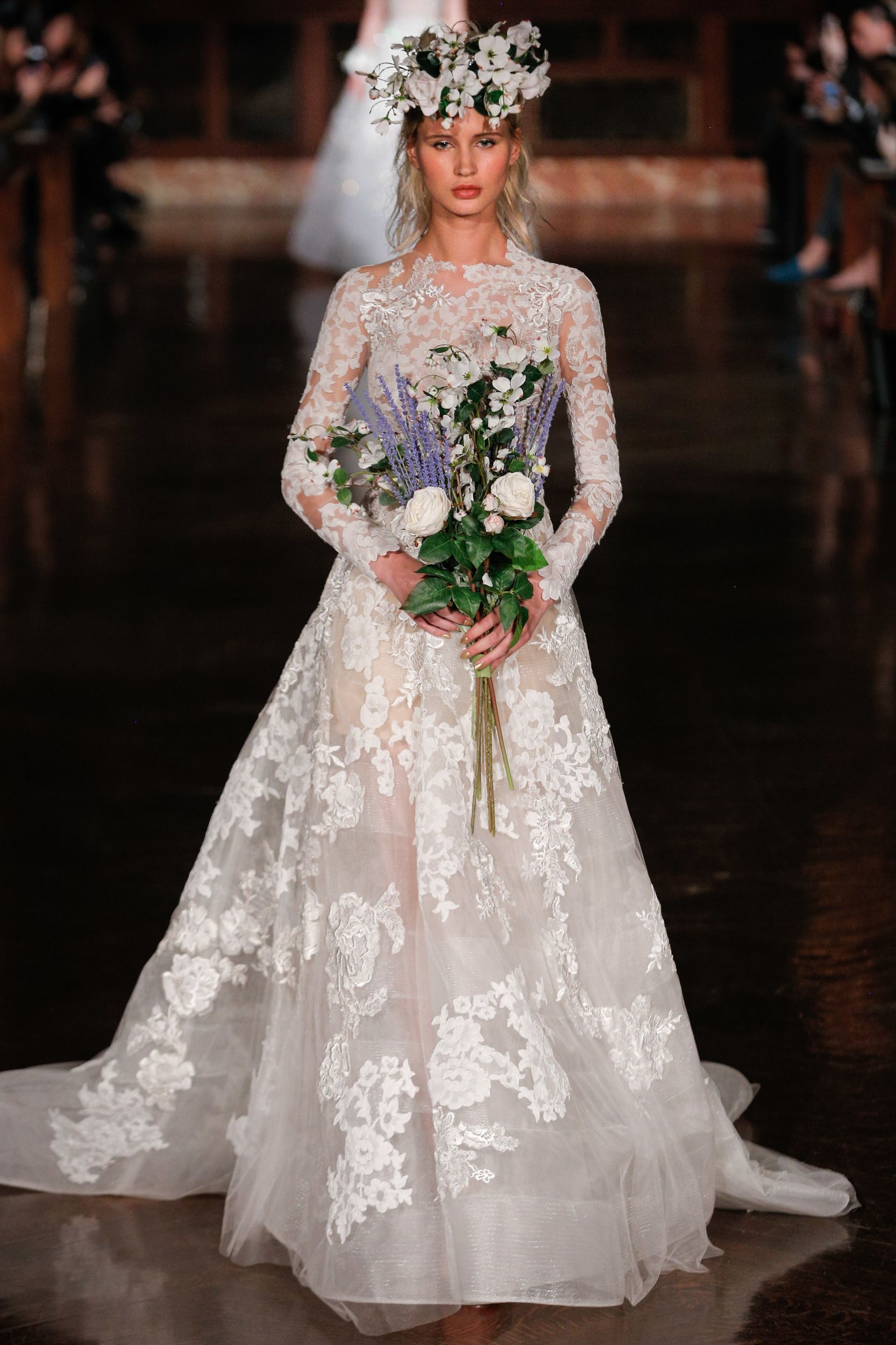603994fbc998 NEW YORK, NY - APRIL 12: Milena Garbo walks the runway wearing Reem Acra