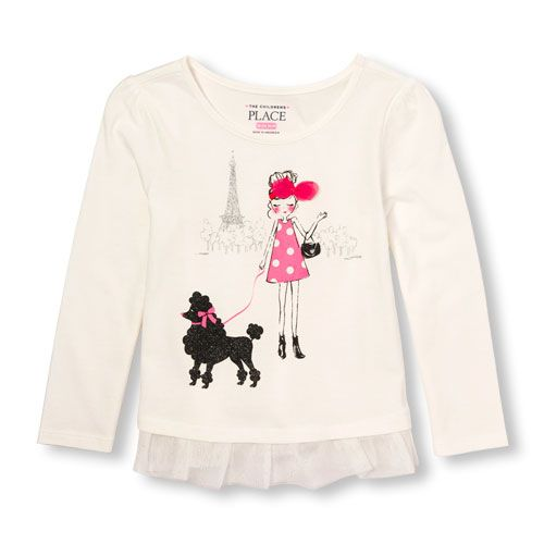 805f8323 s Toddler Long Sleeve Glitter Graphic Mesh Ruffle-Hem Top - White - The  Children's Place