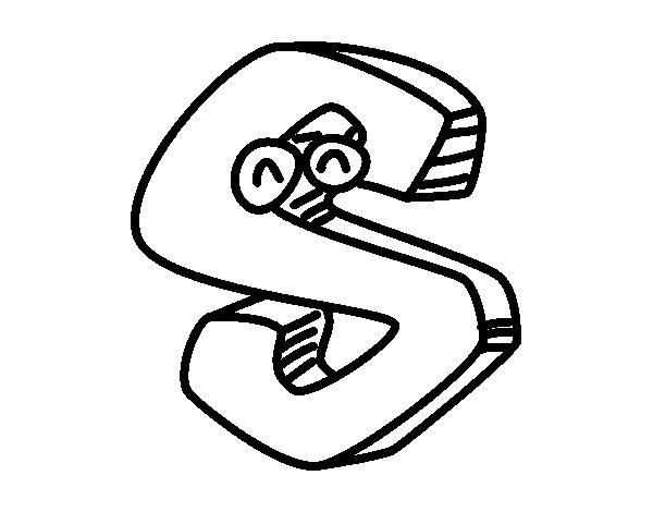 Letra S para colorear | Dibujos de Letras para colorear | Pinterest