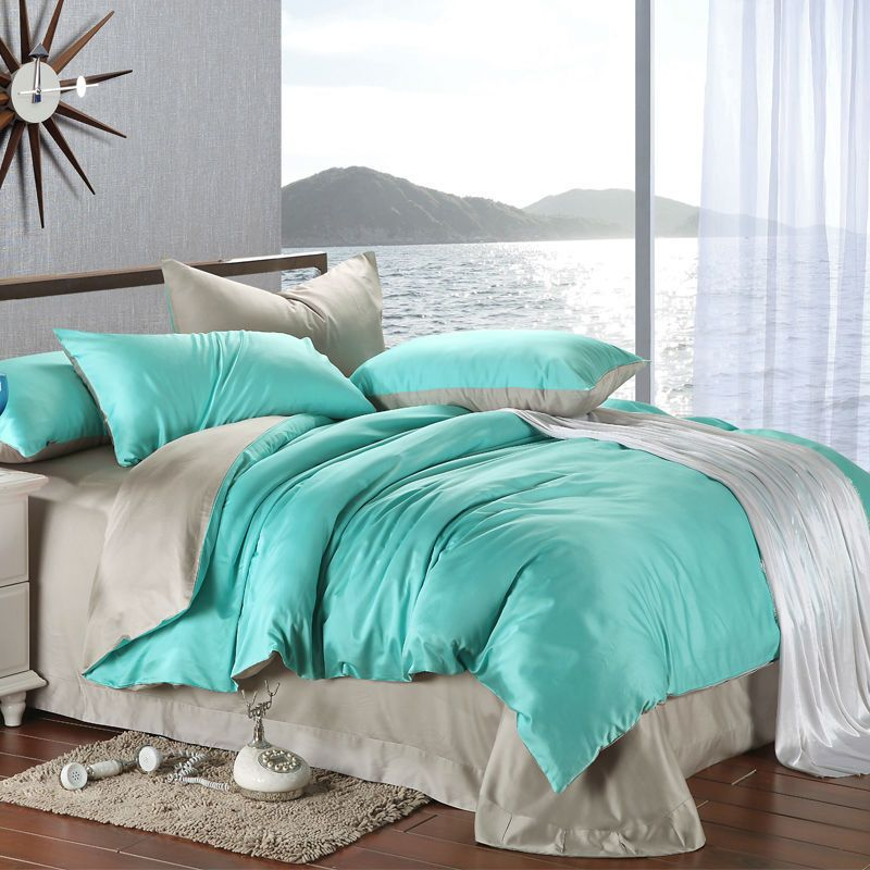 Luxury Turquoise And Grey Silk Bedding Set 4cps King Or Queen Size