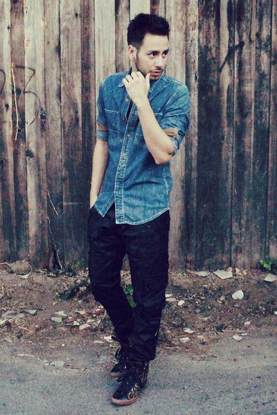 2a1e9b535cd jean shirt with black pants women