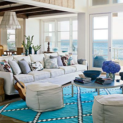 50 Colorful, Cozy Spaces | Coastal decorating living room, Home ...