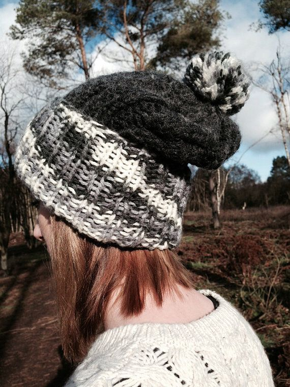 Slouchy cable grey hat by Handmadebydannii on Etsy, £10.00