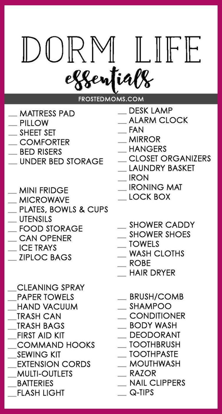 Dorm Room Essentials List What Your College Kid Really Needs College Essentials Needs Dorm Room Essentials List Dorm Room Checklist Dorm Room Essentials