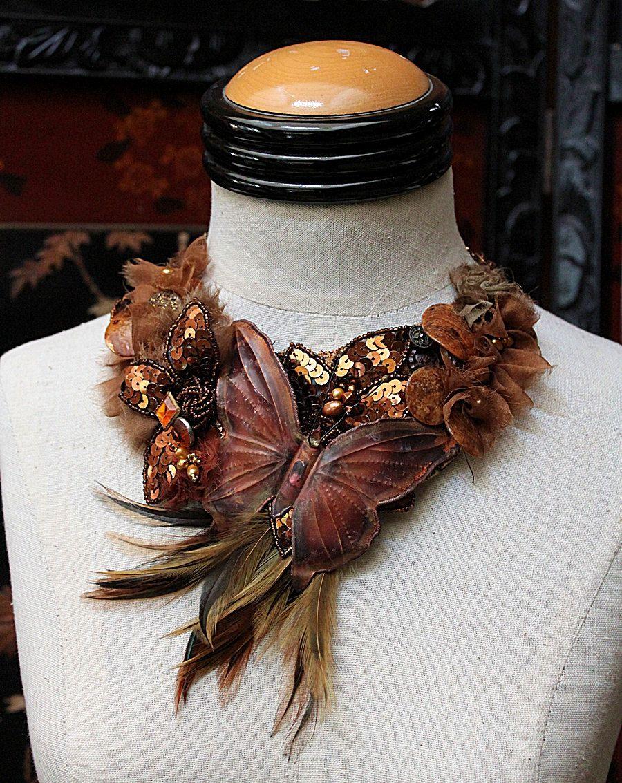 OTOÑO ARDIENTE Por Butterfly Collar llamativo.Vintage. carlafoxdesign