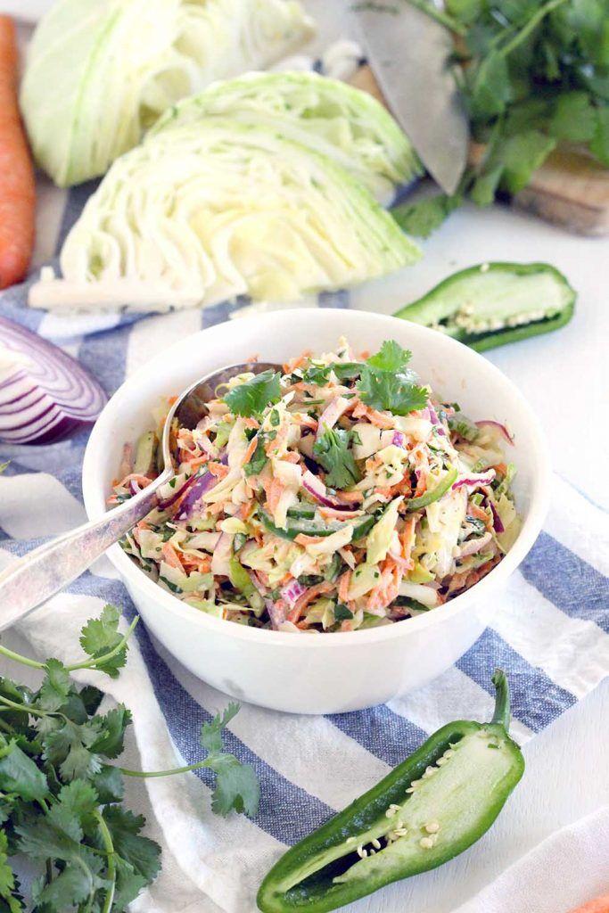 Spicy Jalapeno Cilantro Slaw Recipe Pulled Pork Recipes Slaw For Fish Tacos Slaw Recipes