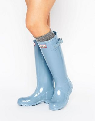 Hunter | Hunter Original Tall Gloss Pale Blue Wellington Boots