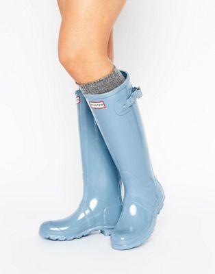 Hunter | Hunter Original Tall Gloss Pale Blue Wellington Boots