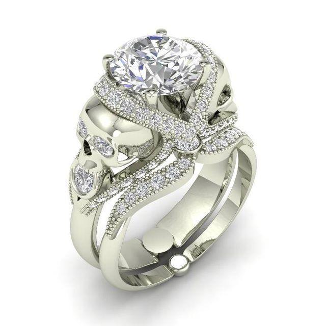 Two Skull Face Women/'s 3.12ct New Skull Engagement Ring White Diamond Round Cut 925 Sterling Silver Bridal Set
