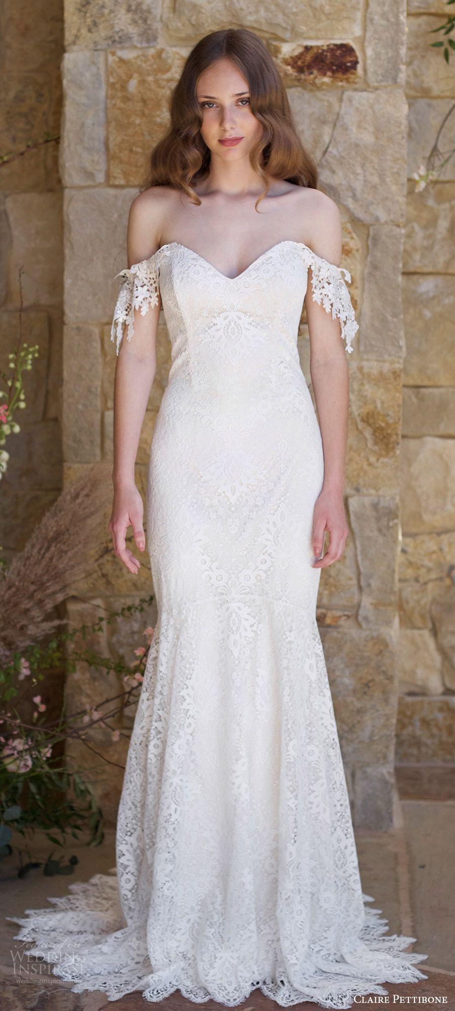 Off the shoulder lace mermaid wedding dress  Claire Pettibone Romantique Spring  Wedding Dresses u The