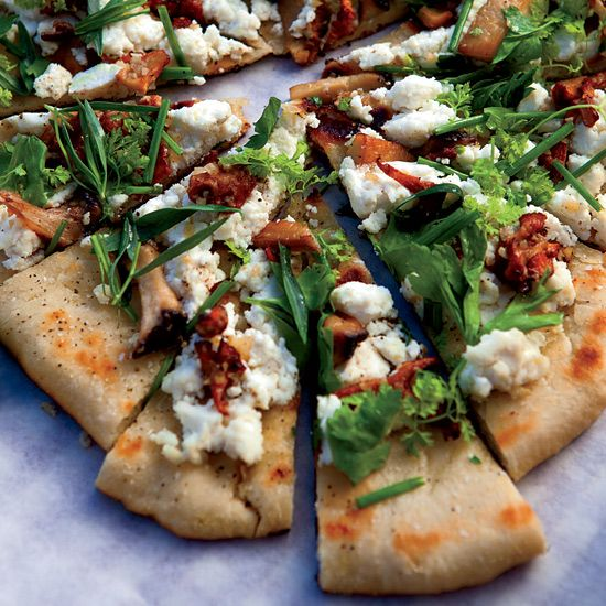 Grilled flatbread with mushroom, ricotta and herbs