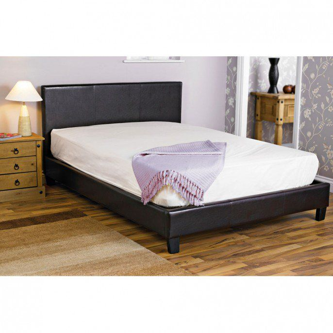 official photos 69cfe 9fd9d FAUX LEATHER DOUBLE BED FRAME BLACK   Poundstretcher ...