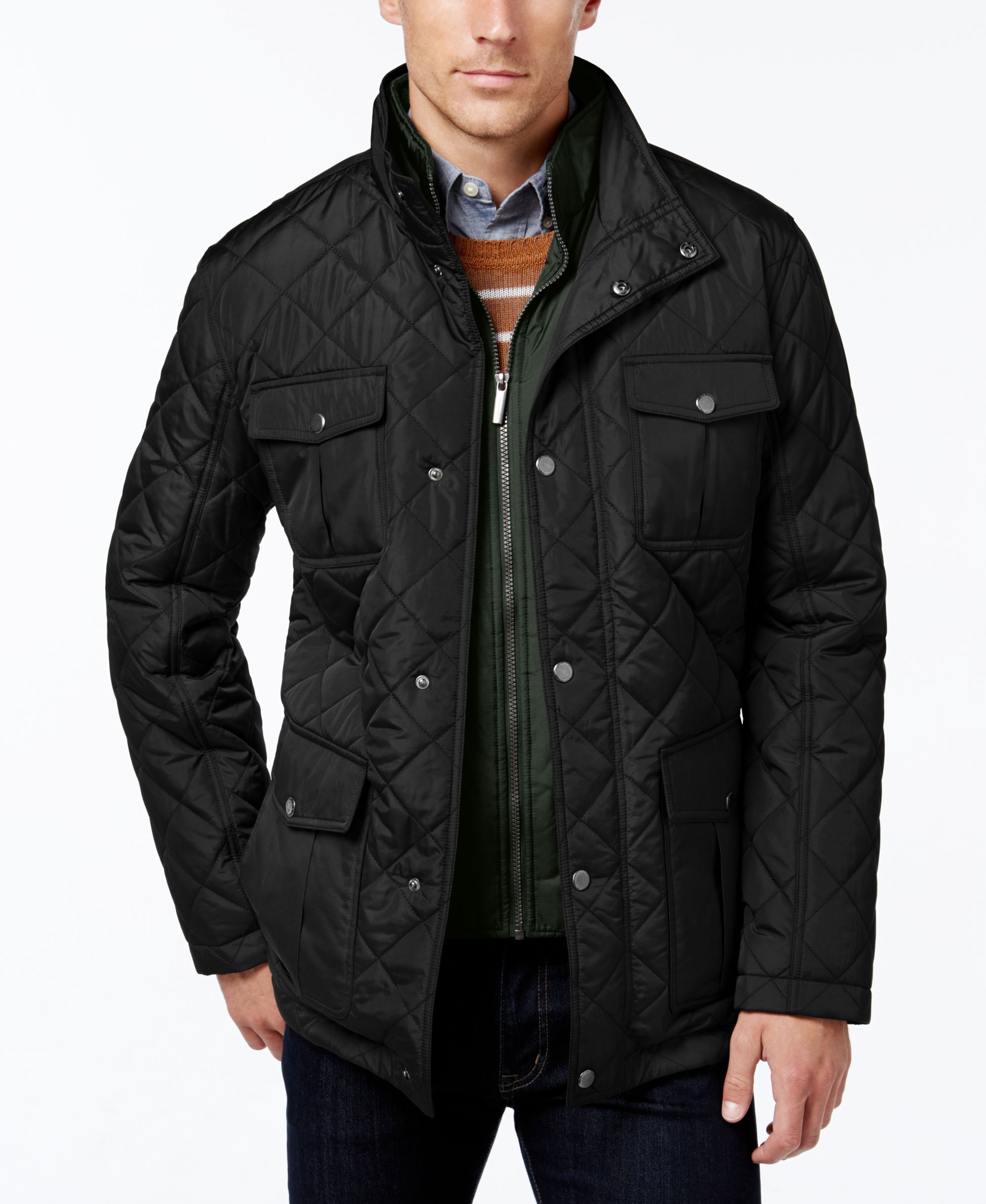 lightweight for in lyst blue quilted padded clothing gallery bear jacket navy pull men pullbear mens quilt