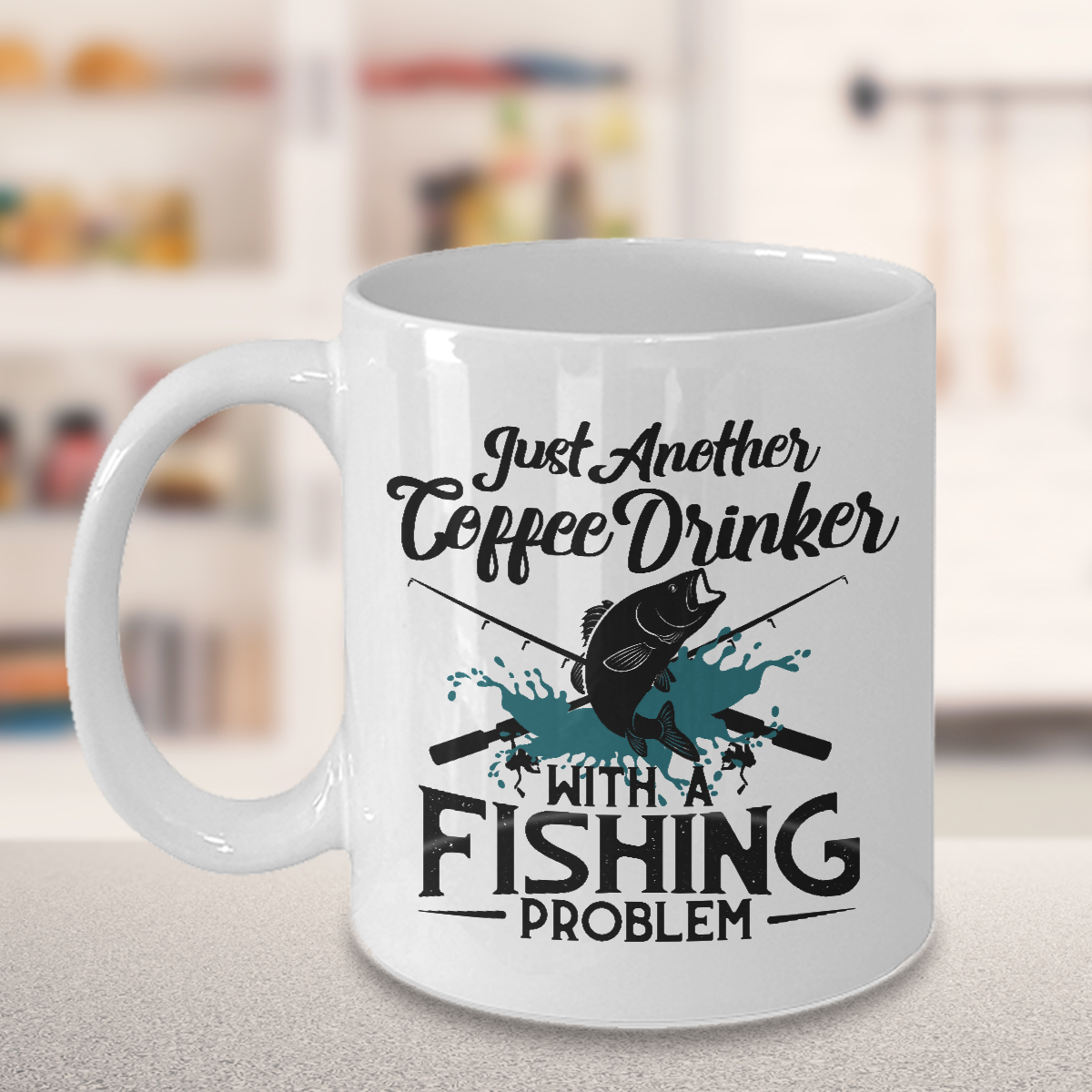 A coffee drinker with a fishing problem. Funny mugs