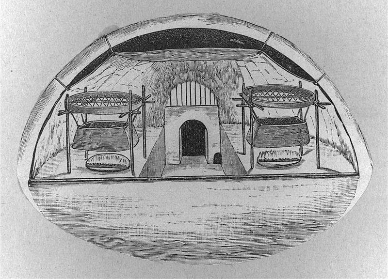 Drawing of interior of Eskimo igloo in Alaska, 1916, from ...