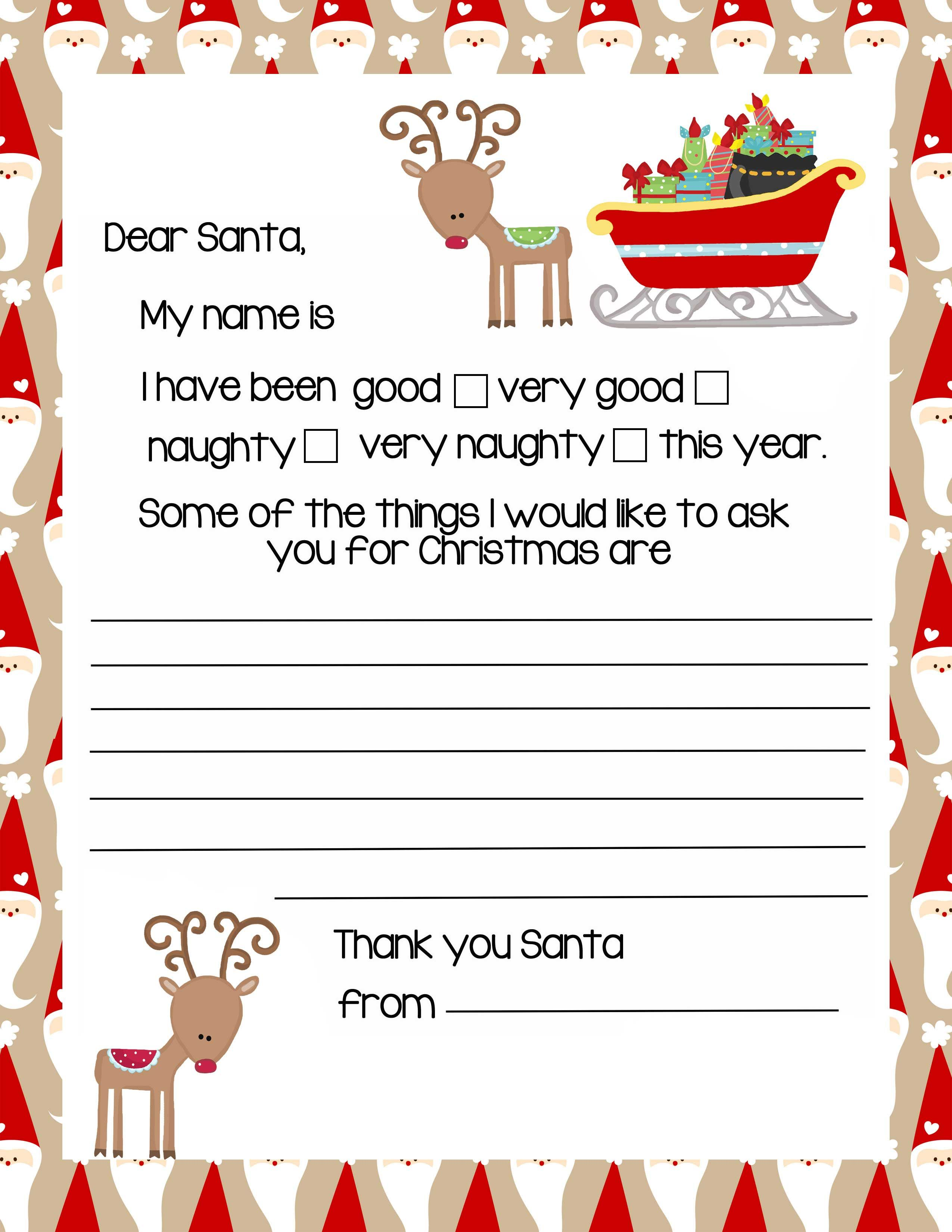 Reindeer Letter To Santa Claus Christmas Letter Template Santa Letter Template Santa Letter
