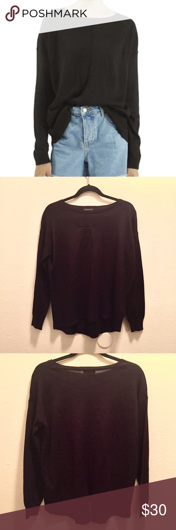 Topshop Black Rib Panel Sweater Tiny eyelets trace the ribbed shoulder panels of a pullover sweater knit from a fine yarn blend. The oversized fit makes it perfect to wear with leggings or tuck into pants for an effortlessly chic look. Marked as EUR 36, US 4, UK 8. Fits like a US S-M. NWOT. Topshop Sweaters Crew & Scoop Necks