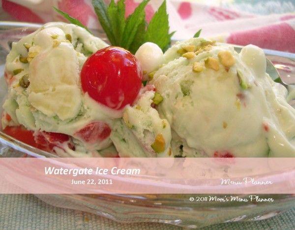 Watergate Ice Cream.   It's pistachio ice cream, pineapple, marshmallow and cherries!