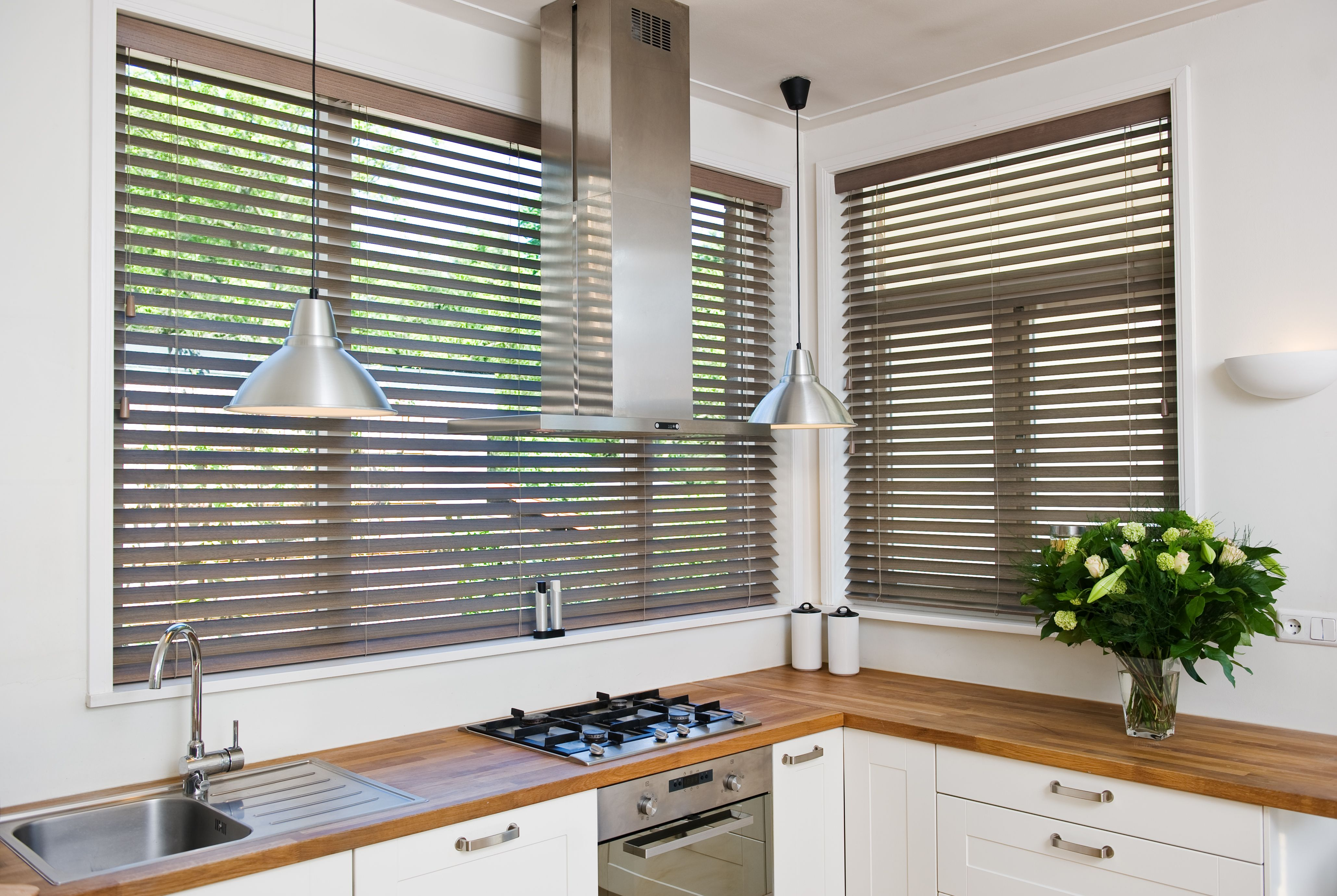Beautiful Timber Venetian Blinds In A Kitchen Setting