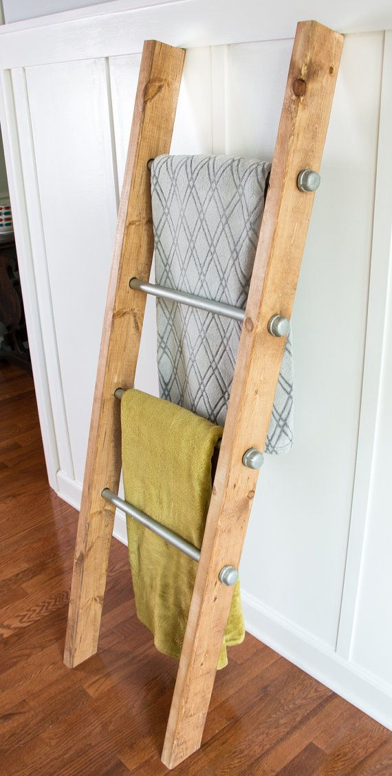 Love The Silver Bolt Details Industrial Decor Meets Rustic Farmhouse With A Twist This Wooden Ladder Has A Reclaimed Wood Appearance Yet It Looks