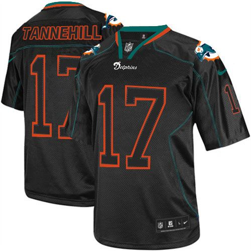 Men's Nike Miami Dolphins Customized Lights Out Black Elite Jersey