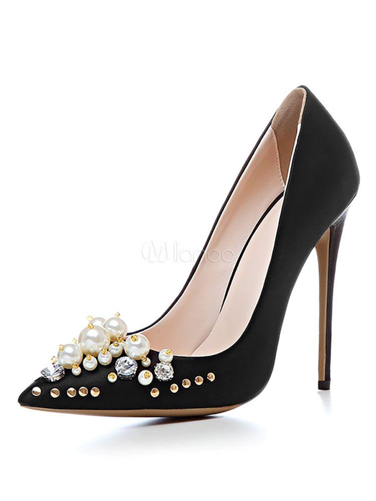 Zapatos de puntera puntiaguada de tacón de stiletto con pedrería elegantes para boda guVwEPAigV