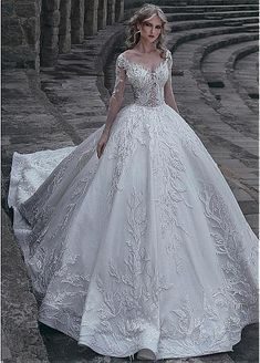 8cad19ad6fc  308.40  Gorgeous Tulle   Lace V-neck Neckline Ball Gown Wedding Dress With Lace  Appliques   Beadings - dressilyme.com  weddingdressesknoxville