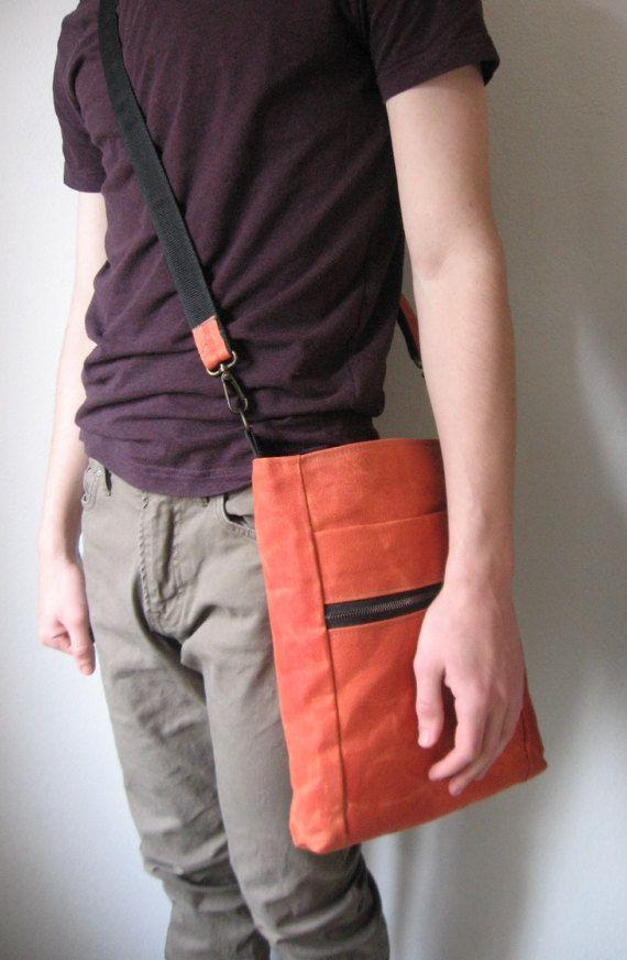 Waxed Canvas Crossbody Bag Travel Bag Unisex Handbag by Lupiko