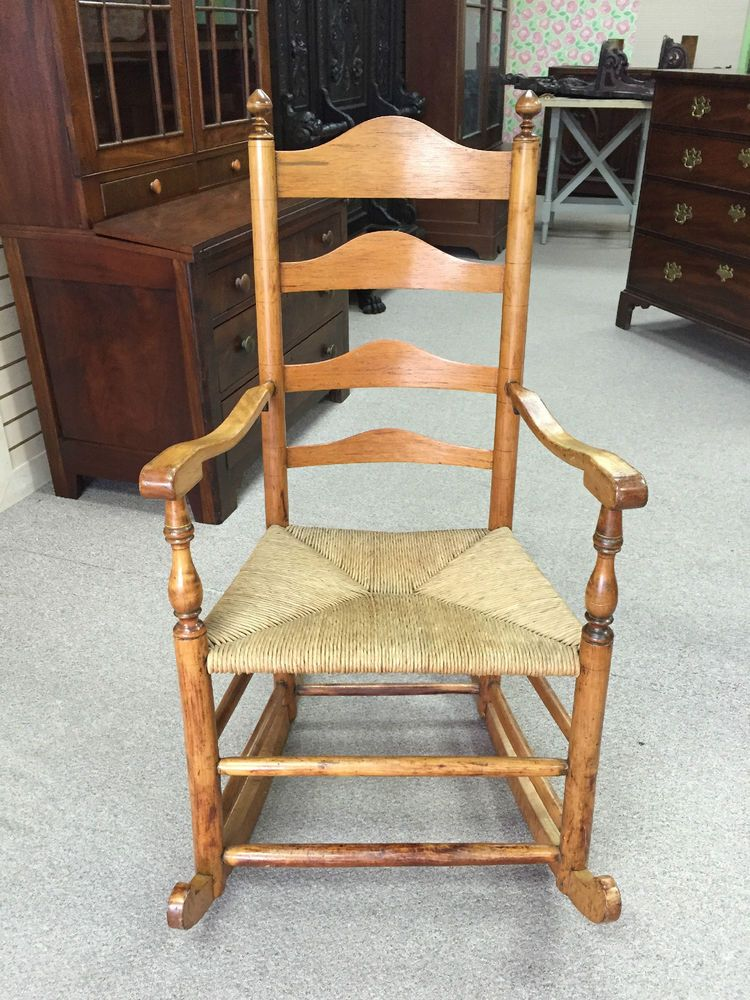 Antique Early American Ladderback Rocking Chair with Rush Seat - Antique Early American Ladderback Rocking Chair With Rush Seat