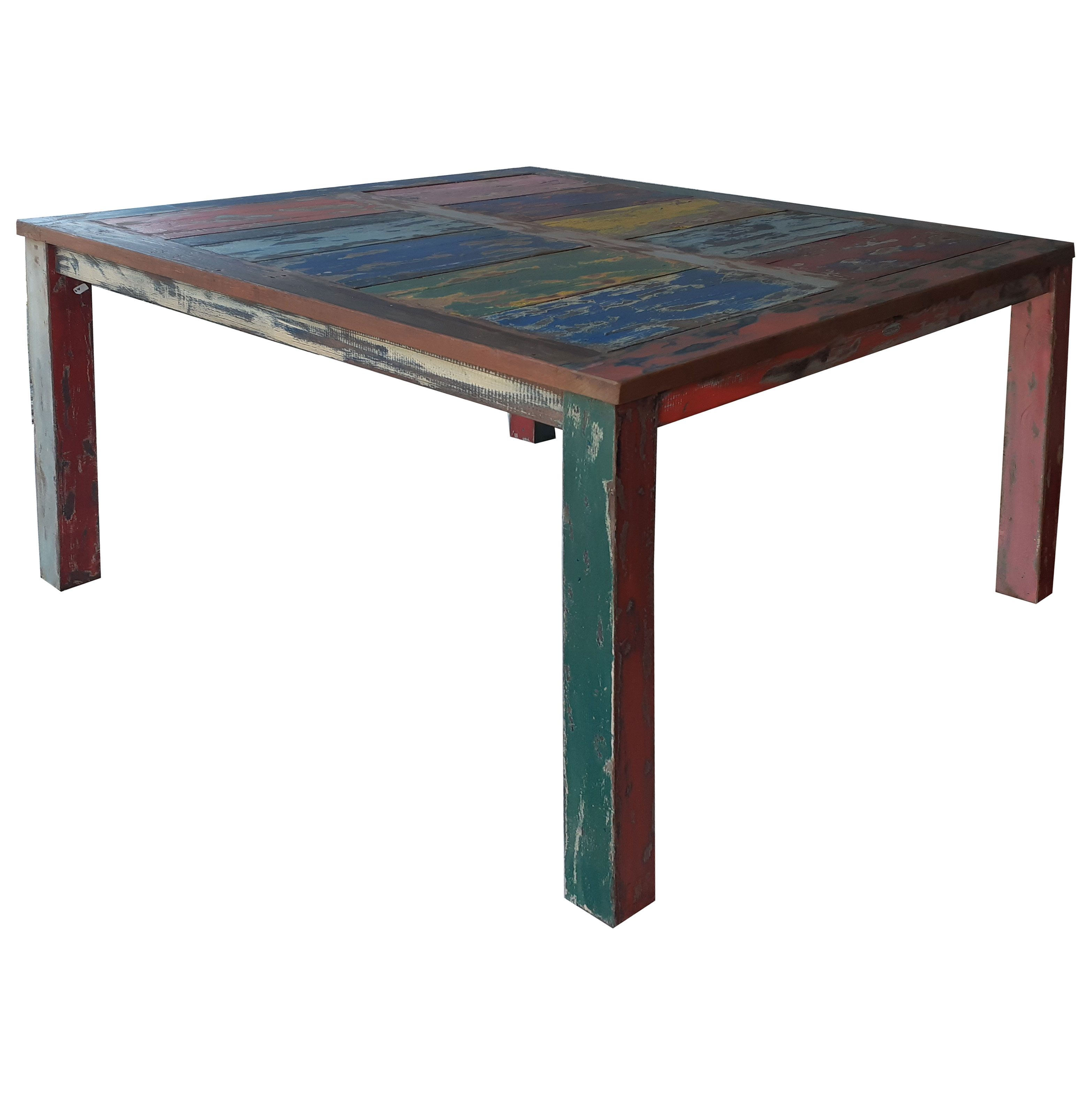 Square Dining Table Made From Recycled Teak Wood Boats 47 Inch By