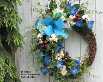 Photo of Large spring / summer wreath, sunflower wreath, large flower door wreath, spring wreaths for the front door, hanging floral decor